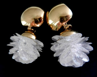 Fabulous 1970s italian couture earrings, Dangling Clusters white rose in a Clip Style - art.615/3-