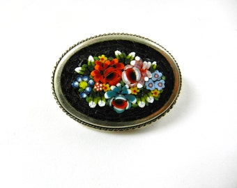 1910s antique Italian Art Nouveau micro mosaic brooch - Italian Florentine Art -lovely floral bouquet oval brooch -- Art.751/3 -