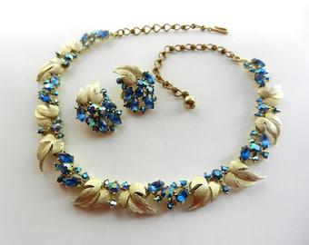 50s Sparkling Vintage Blue and Aurora Borealis Rhinestone Floral Demi Parure by BSK- Necklace & Earrings set - art.791/3-