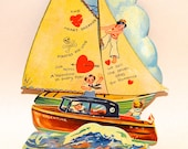 Antique Valentine Card . Large Sailboat . Motorboat . Stand Up  . Moveable. Love . Boy . Girl . Paper Card Board