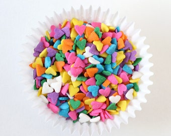 Rainbow Heart Sprinkles (3 oz) Rainbow Heart Confetti Sprinkles for Cupcakes, Cakes, Cakepops