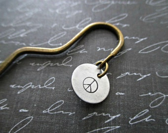 bronze squiggle shepard's hook bookmark with hand stamped peace sign