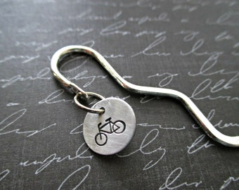 silver squiggle shepard's hook bookmark with hand stamped bicycle