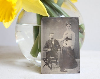 Tintype: Portrait Of Husband and Wife, Full length, Married Couple, Marriage, Love, Victorian Romance