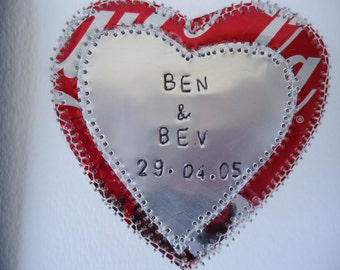 10 year Wedding Anniversary Gift - HEART - Wedding Collage -  Engraved Names and Wedding Date Mixed Media