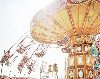 "Coney Island Art, Carnival Photography, Carousel Print, Carousel Rides, Nursery Art - ""Ride the Sky II"""