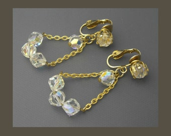 Crystal Bead Earrings, Crystal Earrings, Chain Earrings, Gold Earrings, Dangle Earrings