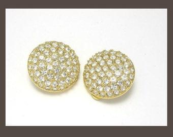 Rhinestone Earrings, Nina Ricci Earrings, Gold Earrings, Designer Earrings, Statement Earrings, Round Rhinestone Earrings, Button Earrings