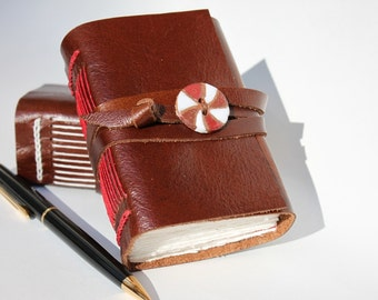 Leather Journal Leather Notebook Travel Journal Diary - Peppermint Chocolate