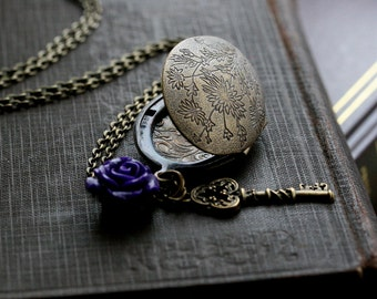 Key Locket Necklace, Oval Locket Necklace, 21st Birthday Gift, Purple, Flower Charm, Vintage Inspired Locket - Thistle