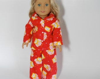 18 inch doll clothes, doll pajamas, Red Owl Pjs, 04-0194