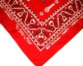 Vintage KEY WORK CLOTHES Bandanna • red white & black key overall bandana