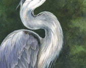 Great Blue Heron- Original Watercolor 11 x 14