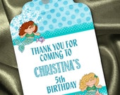Set of 12 Personalized Favor Tags, Gift Tag, Thank You Tags, Mermaid Ocean Theme, Birthday Party, Under the Sea Party, Blue Color Scheme