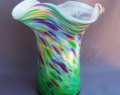 Hand Blown  Glass Vase, Art Glass,Emerald Green, Multicolor