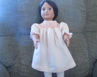 "Doll Dress, 18"" Doll Bishop Style, Hand-Smocked, Peach WITH BONUS!"