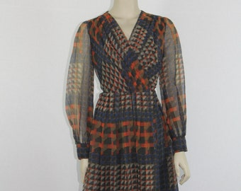 1970s Vintage Dress -  Op Art Optic Geometric Long Sleeve Dress  - 34 / 27 / open