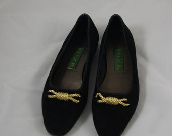 Vintage Black Suede Nautical Style Flats By Unisa 7M