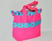 Pink Personalized Light Blue/Pink Polk Dot Bag with Name Embroidered on it, Ruffle Pink Ribbon Tote Bag. Princess Bag, Easter Basket Bag