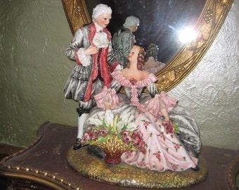 French Figurials/Vintage Porcelain Figurine Colonial Couple C. Mollica Capo deMonte Italian Porcelain