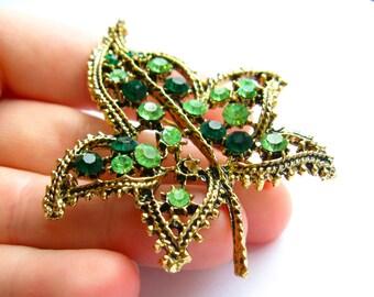 Green Leaf Rhinestone Brooch, Gold Leaf Brooch, Spring Brooch, Green Rhinestone Brooch, Green Spring Jewelry, Green Leaf Pin, Springtime Pin