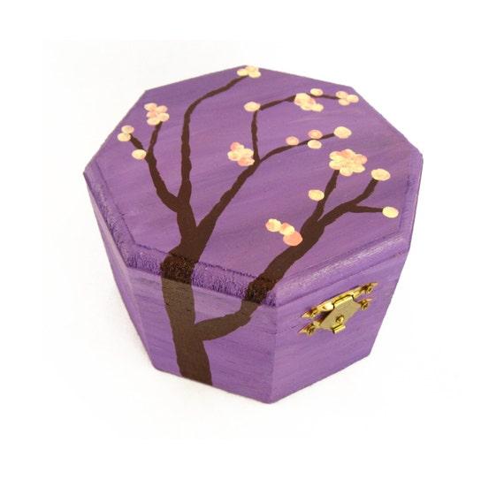 Purple Jewelry Box For Girl Pink Cherry Blossom Jewelry Box