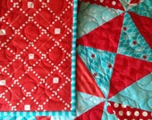 Baby Quilt - Aqua and Red Hourglass Pattern (Free US Shipping)