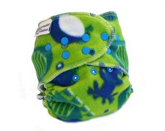 Cloth Diaper Cover OS, Fleece - Frogs, Turtles, green