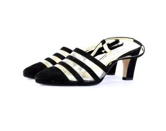 80s Slingback Heels Black Cut Out Heels Black Leather Pointed Toe Heels Transparent Heels Low Heel Sax Fifth Avenue Pumps Narrow 7.5 E577