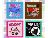Buy 2 GET 1 FREE - Instant Download - Rescue Adopt Cat Collage Sheet - 1 inch square for jewelry, pendants, hair bows, scrapbooking 365