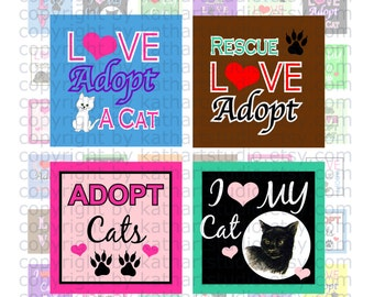 Instant Download - Rescue Adopt Cat Collage Sheet - 1 inch square for jewelry, pendants, hair bows, scrapbooking 365