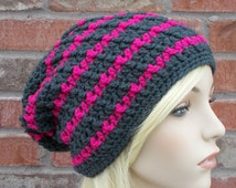 Charcoal Gray and Pink Slouchy Beanie, Long Beanie, Dark Grey and Hot Pink Striped Hat, Teenage Girl Gift, Teen Hats, Hand Crocheted Items