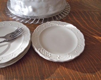 Vintage Cake Plates Creamy White Pottery set of 6 Wedding Buffet