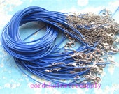 high quality 20pcs 1mm 16-18 inch adjustable royal blue korea wax string snake necklace cords