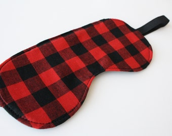 Checker Lumberjack Sleep Mask | Eye Mask Travel Mask | Stocking Stuffer Gift | Red and Black | BUFFALO CHECK