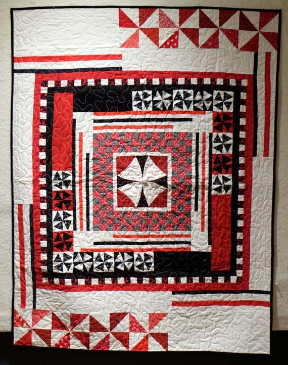 Red white and black goth modern baby wall hanging quilt