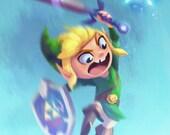 Legend of Zelda: Link and Navi | 8x10 Fine Art Print | Tribute to Nintendo's Classic Zelda Games | Flimflammery