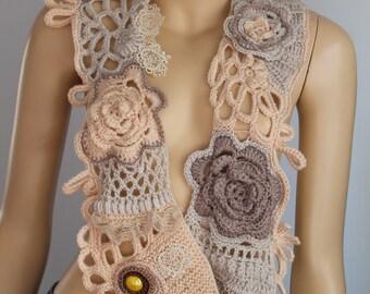Crochet Scarf, Knit Scarf, Nude Cream Beige White Scarf - Neck Warmer with Flower Brooch, Freeform Crochet, Infinity scarf  Bohemian Scarf