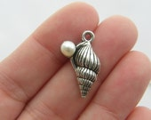BULK 30 Shell charms with acrylic pearl antique silver tone FF191