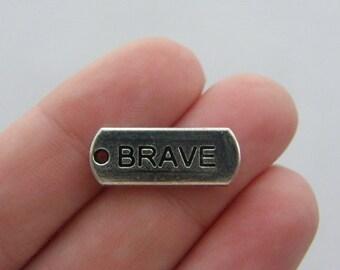 BULK 30 Brave charms antique silver tone M48