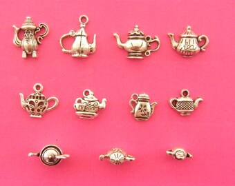 The Ultimate Teapot Charms Collection - 11 different antique silver tone charms