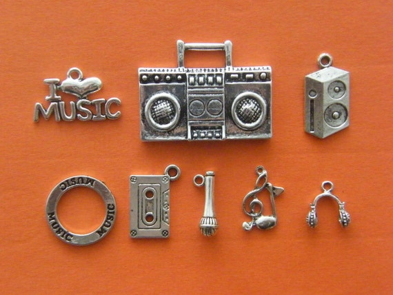 The Love Music Collection - 8 different antique silver tone charms
