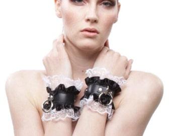 CATHERINE BDSM CUFFS Valentine Gift - French Maid Leather Fetish Bdsm Bracelets Victorian Style Kitten Play Slave DDLg Wrist Restraints Cuff