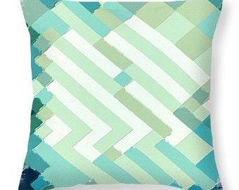 Coastal Colors Geometric throw pillow, scatter cushion, square or lumbar accent pillow, beach cottage decor, spring decor, coastal decor