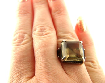 Smoky Quartz Ring - Sterling Silver - Vintage