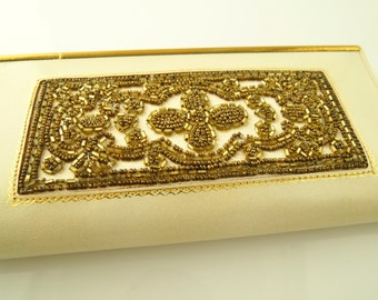 French Beaded Wallet - Leather - 1950's - Vintage