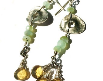Long Chrysophase and Citrine Dangling earrings