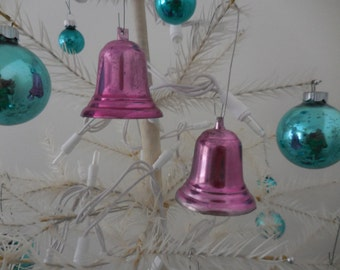 Two Pink Vintage Bell Ornaments