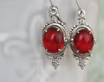 sterlings silver earrinigs VICTORIAN DAGGER antiqued silver dagger earrings with vintage ruby red glass jewels