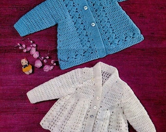 Vintage CROCHET PATTERN - Baby Matinee Jackets/Cardigans 2 Styles 18 to 19 in chest